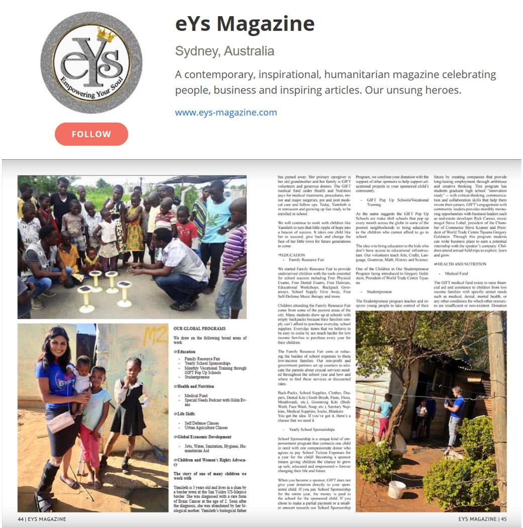 Australia Based eYs Magazine Covers GIFT Global Initiative